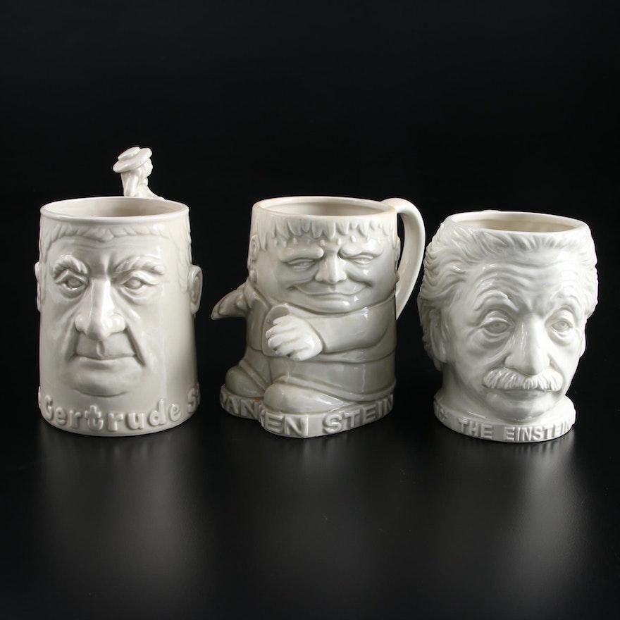"""Fitz and Floyd """"The Gertrude"""" Stein, """"The Einstein"""" and """"The Franken Stein"""" Mugs"""