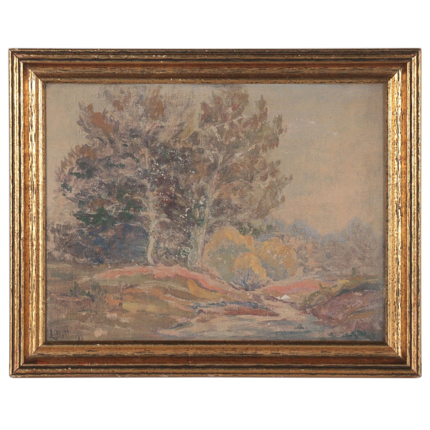 Landscape Oil Painting of Forest, Early 20th Century