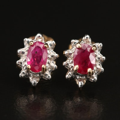 10K Ruby and Diamond Stud Earrings
