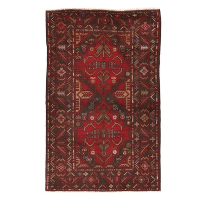 3'1 x 4'11 Hand-Knotted Afghan Baluch Rug, 2000s