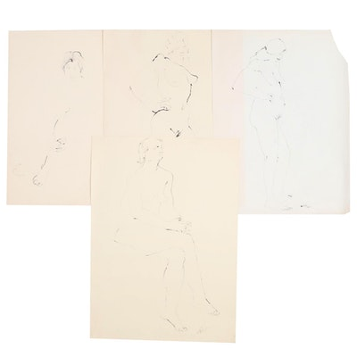 John Tuska Figural Ink Drawings, circa 1967