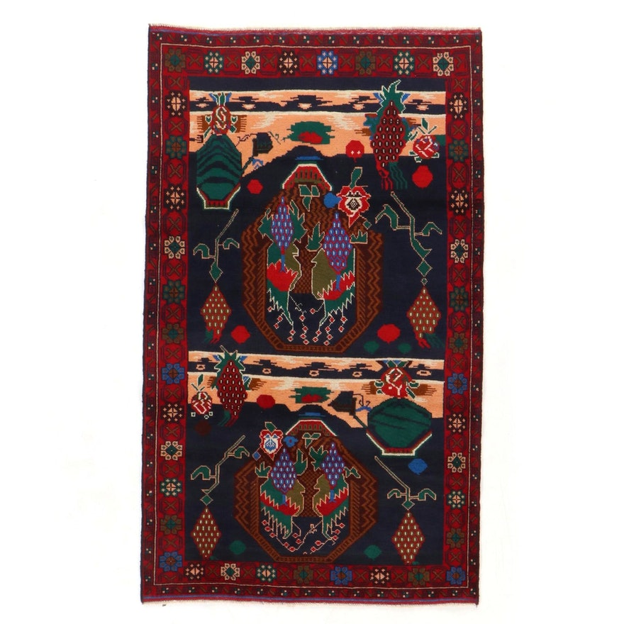 3'9 x 6'5 Hand-Knotted Persian Baluch Rug, 2000s