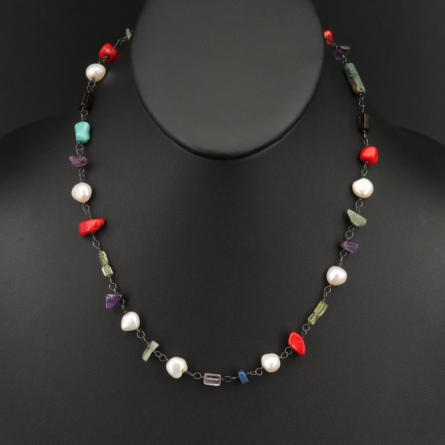Sterling Mixed Gemstone Necklace