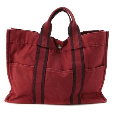 Hermès Fourre Tout MM Tote in Red and Maroon Cotton Canvas