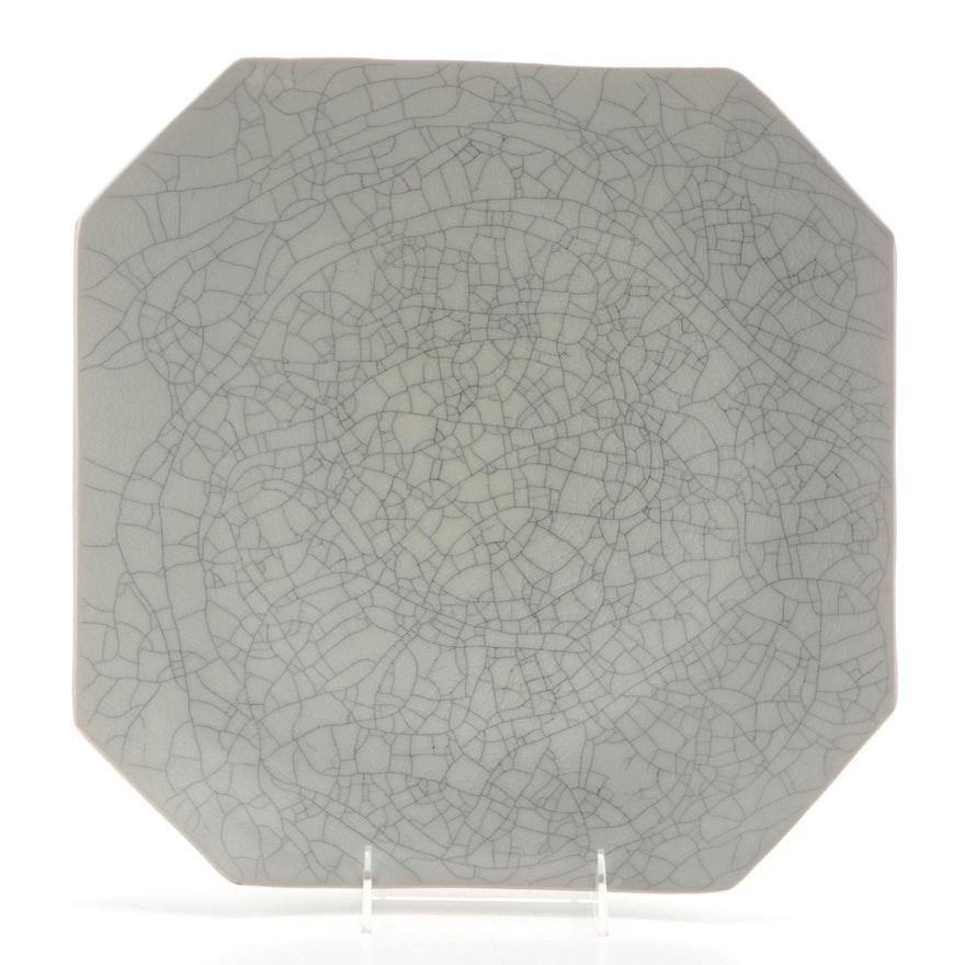 Artist Signed Crackle Glaze Ceramic Square Dish, 1997