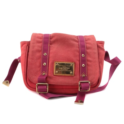 Louis Vuitton Besace Antigua PM Messenger Bag in Red Canvas with Magenta Straps