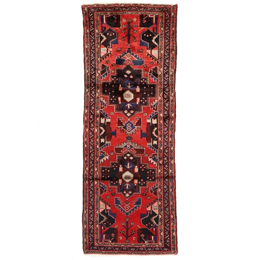3'7 x 9'9 Hand-Knotted Persian Geometric Wool Runner Rug