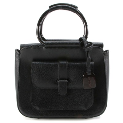 Gucci Metal Top Handle Bag in Black Leather
