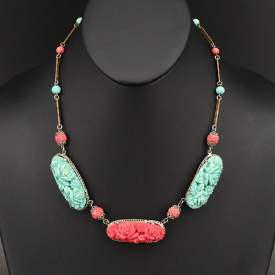 Czech 1930s Molded Glass Floral Necklace