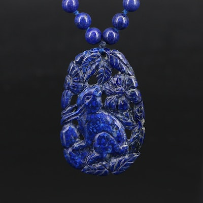 14K Lapis Lazuli Bead Necklace with Carved Rabbit Pendant