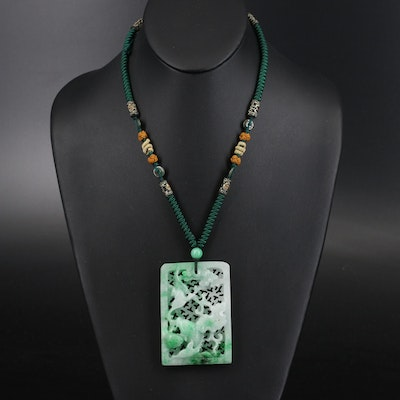 Carved Jadeite Floral Pendant Necklace with Quartzite Bead Accents