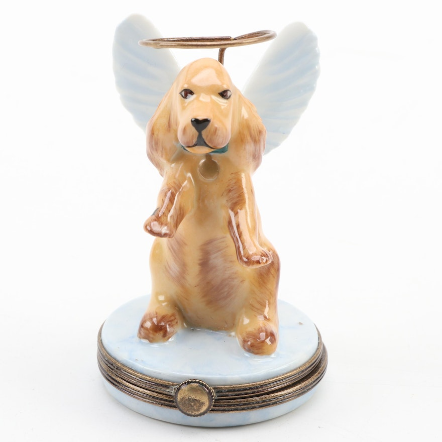 Hand-Painted Dog with Halo Porcelain Limoges Box