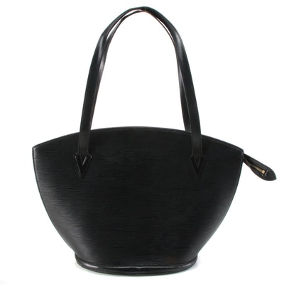 Louis Vuitton Saint Jacques GM Shoulder Bag in Black Epi and Smooth Leather