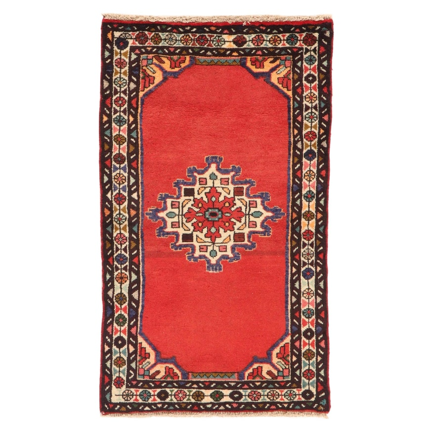 2'4 x 4'1 Hand-Knotted Persian Malayer Rug, 1980s