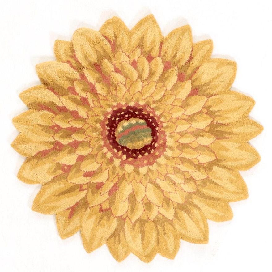 4' x 4' Hand Tufted Indo-Sunflower Round Rug, 2010s
