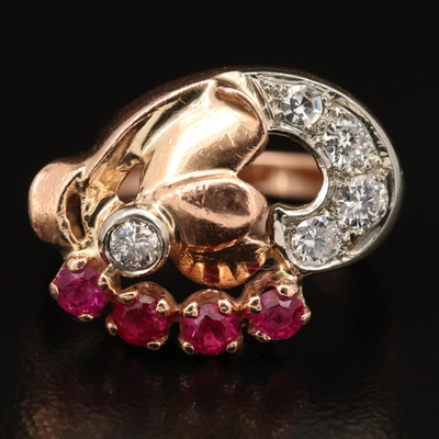 Retro 14K Rose Gold Diamond and Ruby Ring with White Gold Accents
