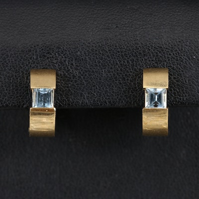 18K Topaz Huggie Earrings