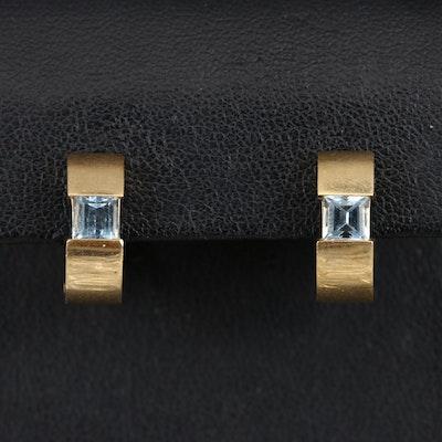 18K Topaz Huggie Earrings