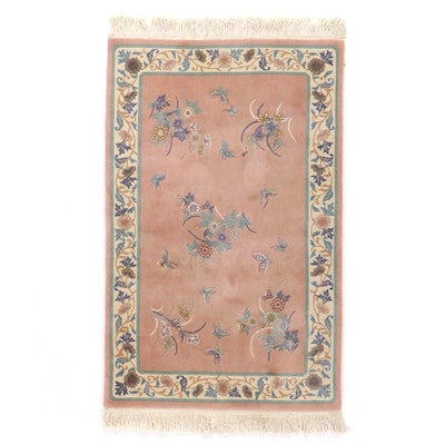 3'9 x 6'7 Hand-Knotted Seagull Chinese Carved Pictorial Area Rug