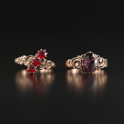 Victorian 9K Glass Three Stone Ring and 10K Garnet Glass Doublet Ring