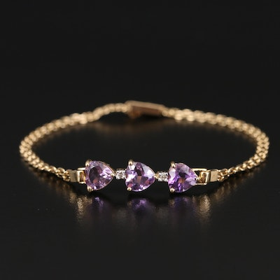 14K Amethyst and Diamond Heart Bracelet