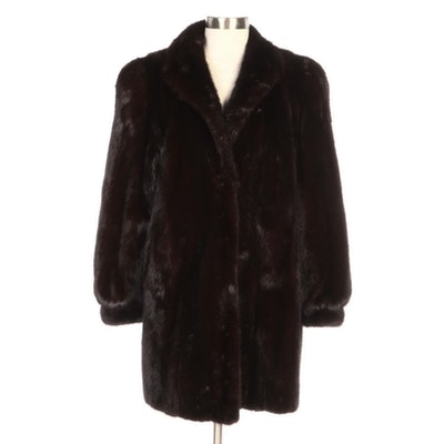 Dark Mahogany Mink Fur Stroller Coat with Banded Cuffs by Barnes Furs