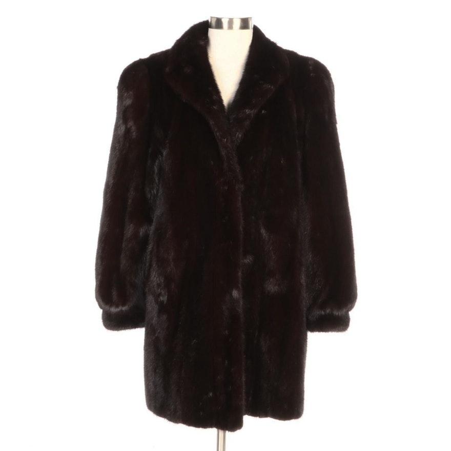 Dark Mahogany Mink Fur Stroller Coat with Banded Cuffs by Barnes Furs