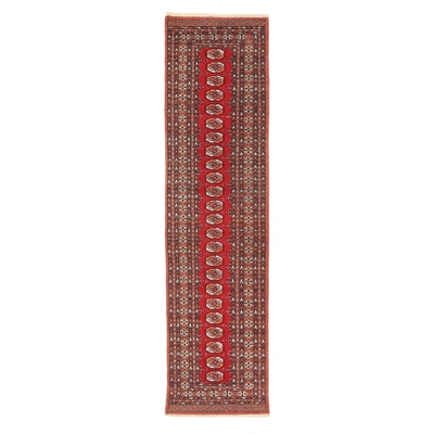 2'6 x 9'11 Hand-Knotted Pakistani Turkmen Bkhara Carpet Runner, 2000s