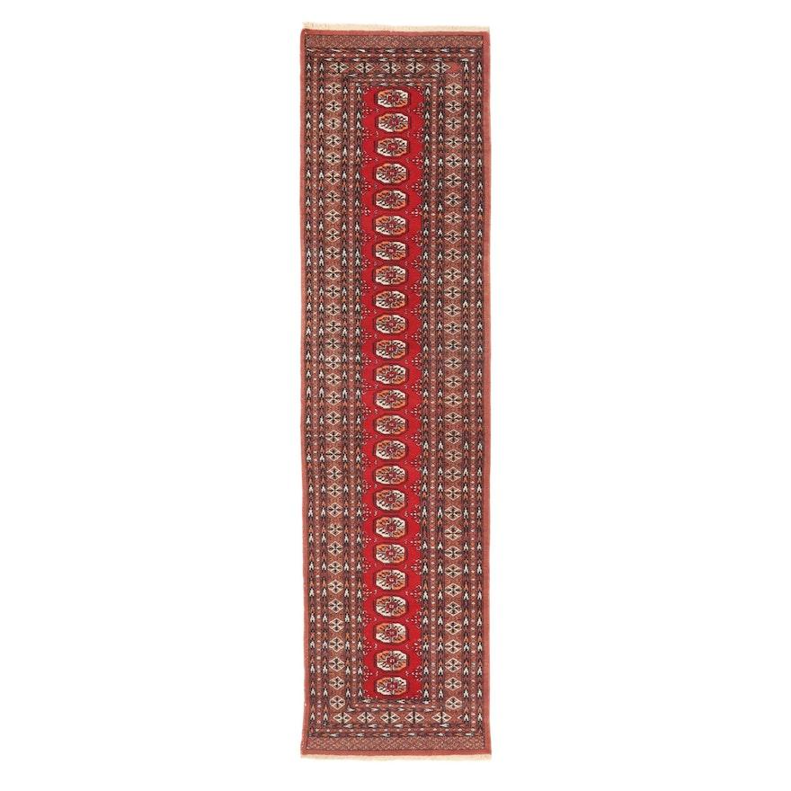 2'6 x 9'11 Hand-Knotted Pakistani Turkmen Bkhara Carpet Runner, 2000s