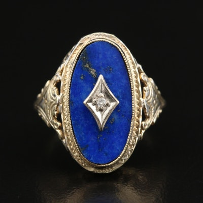 1930s 14K Lapis Lazuli and Diamond Ring