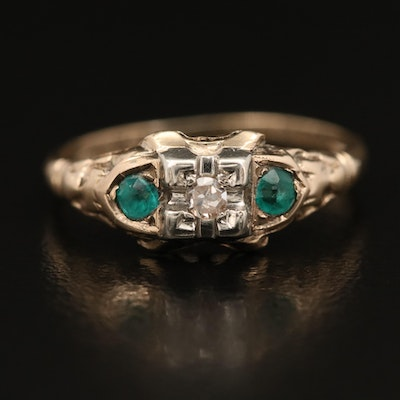Late Art Deco 10K Diamond and Glass Three Stone Ring