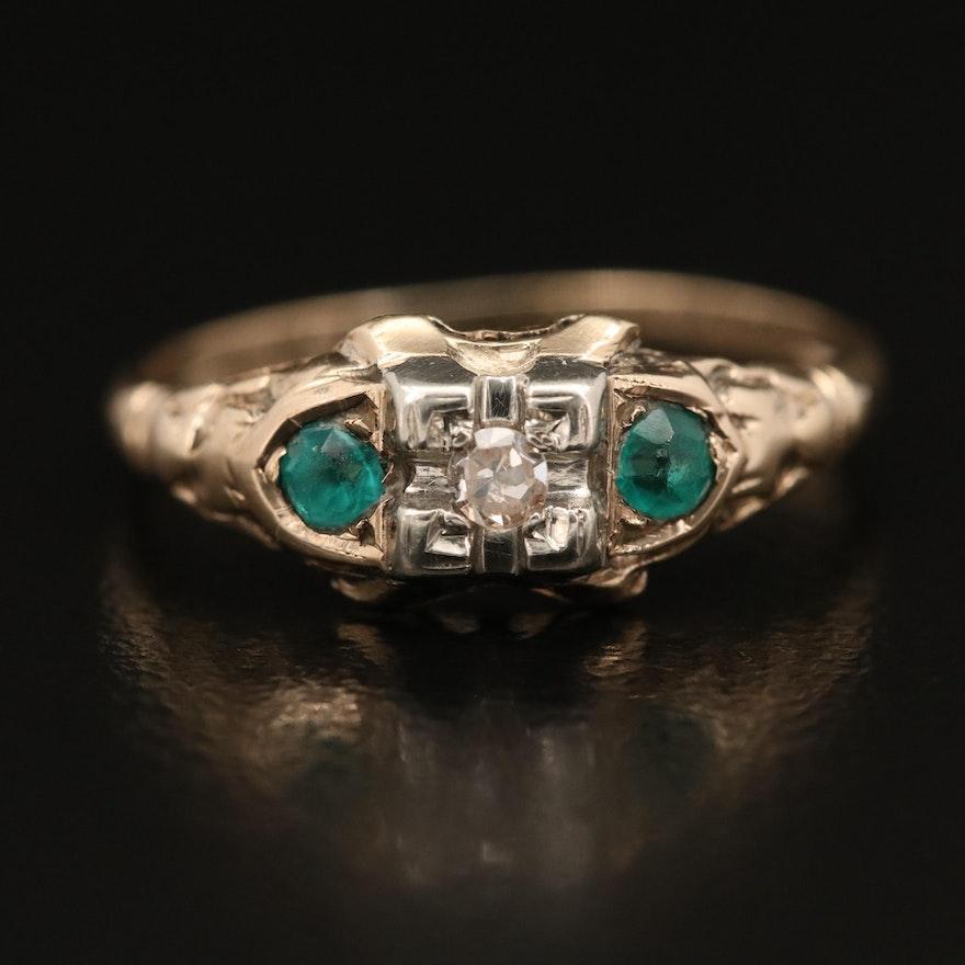 Late Art Deco 10K Diamond and Glass Three Stone Ring