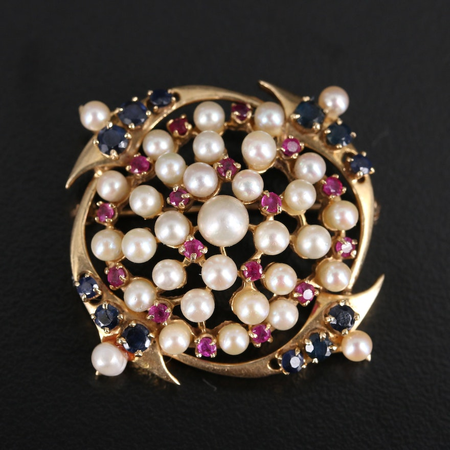 Vintage 14K Pearl, Ruby and Sapphire Brooch