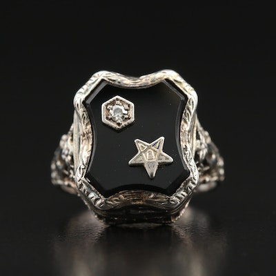 1930s 14K Black Onyx and Diamond Order of the Eastern Star Ring