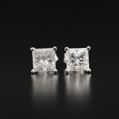 18K 2.11 CTW Diamond Stud Earrings with GIA Dossier and eReport