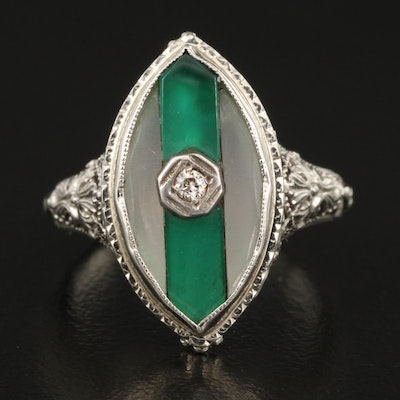 Art Deco 18K Rock Crystal Quartz, Chalcedony and Diamond Filigree Ring