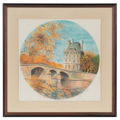 Claude Grosperrin Color Lithograph of Brick Bridge, Mid-20th Century