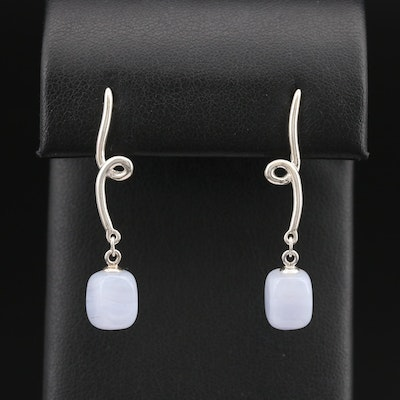 Tiffany & Co. Sterling Lace Agate Twist Drop Earrings