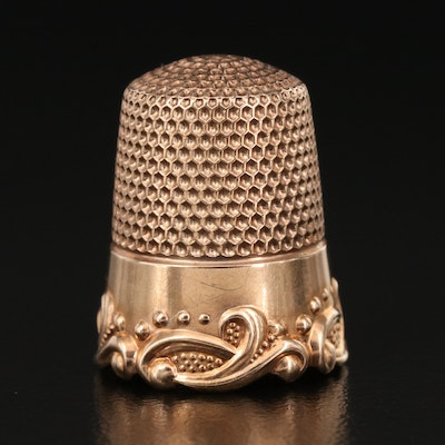10K Scrollwork Thimble, Early/Mid 20th Century