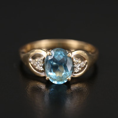 14K Topaz and Diamond Ring with Open Gallery