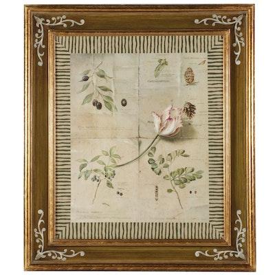 Botanical Composition Offset Lithograph, 21st Century