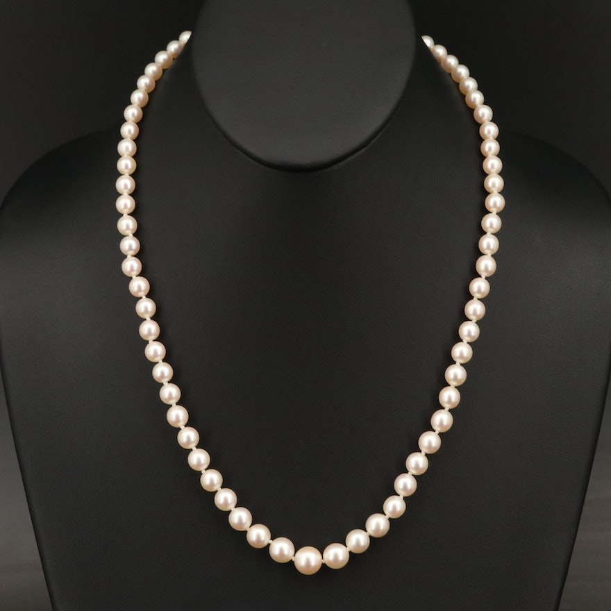 Graduated Pearl Strand Necklace with 10K Clasp