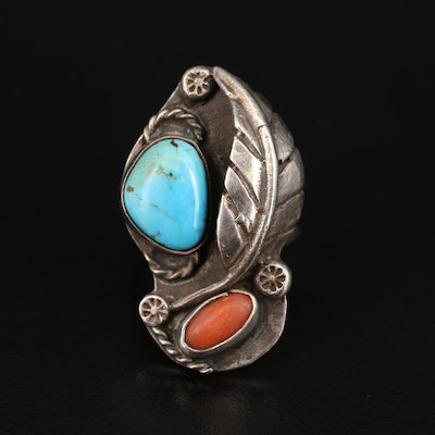 Southwestern Sterling Turquoise and Coral Feather Ring with Wire Detail