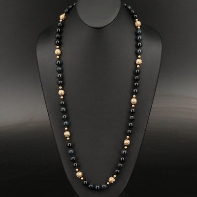 Vintage 14K Onyx Beaded Station Necklace Including Filigree Beads
