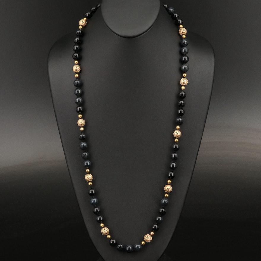 Vintage 14K Onyx Beaded Station Necklace Including Filigree Beads