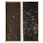 Traditional Chinese Style Landscape Gouache Paintings on Silk