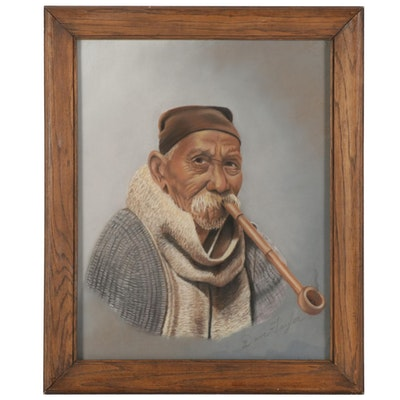 Dave Taylor Portrait Pastel Drawing of Elderly Man Smoking Pipe