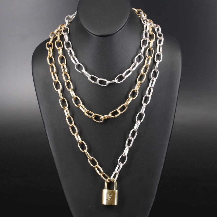 Louis Vuitton Lock on Two Tone Cable Link Necklace