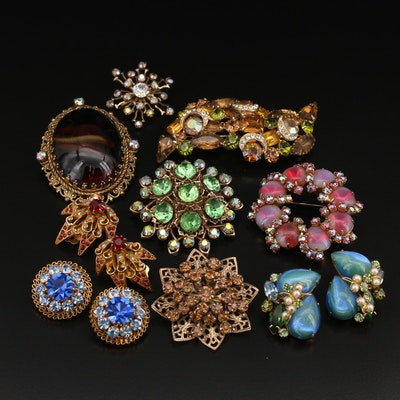 Rhinestone Brooches and Earrings Featuring Alice Caviness