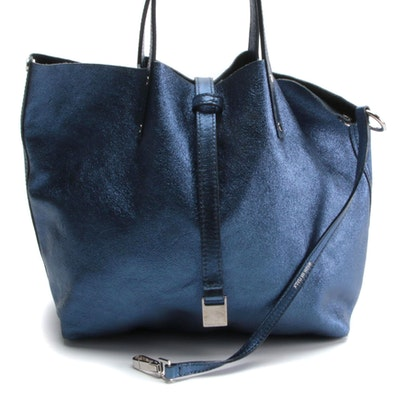 Tiffany & Co. Reversible Mini Tote in Navy Suede and Metallic Leather